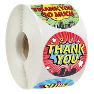 Custom Floral Circle Thank You Round Stickers | TY012 | Wedding Favor Stickers