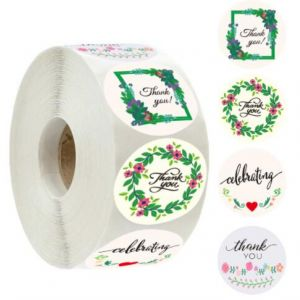 Kraft Floral Thank You Round Labels | TY018 | Thank You Business Stickers
