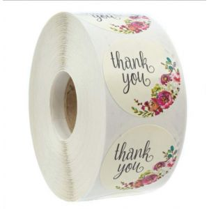 Custom Floral Circle Thank You Round Stickers | TY025 | Wedding Favour Stickers