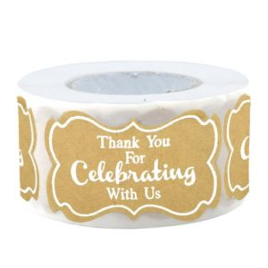 Brown Celebrating Thank You Stickers | TY045 | Thank Your labels