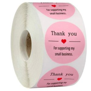 Pink For Support My Small Business Thank You Stickers | TY057 | Thank Your labels