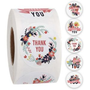 Flowers With Banner Thank You Stickers | TY060 | Thank Your labels