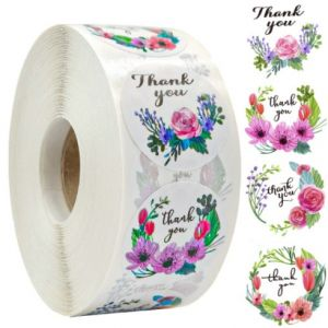 Four Flowers Thank You Stickers | TY065 | Thank Your labels