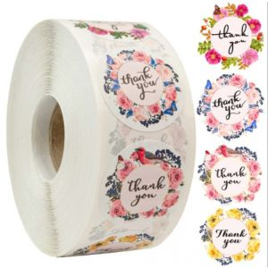 Four Colors Flowers Thank You Stickers | TY066 | Thank Your labels