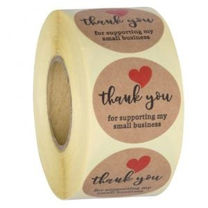 For Support My Small Business Love Kraft Thank You Stickers | TY074 | Thank Your labels