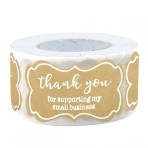 For Support My Small Business Shaped Kraft Thank You Stickers | TY075 | Thank Your labels