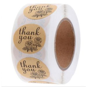 Black Two Flowers Kraft Thank You Stickers | TY078 | Thank Your labels