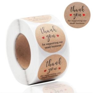 For Support My Small Business Two Love Kraft Thank You Stickers | TY079 | Thank Your labels