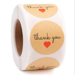 One Red Love Kraft Thank You Stickers | TY083 | Thank Your labels