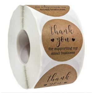 For Support My Small Business Two Black Lover Kraft Thank You Stickers | TY088 | Thank Your labels