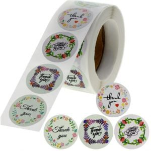 Custom Floral Circle Thank You Round Stickers | TY012 Ready In Stock | Wedding Favor Stickers