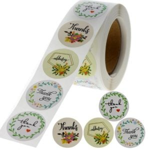 Custom Floral Circle Thank You Round Stickers | TY014 Ready In Stock | Wedding Favour Stickers