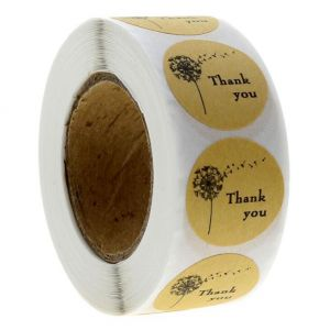 Kraft Candelion Thank You Round Decals | TY019 Ready In Stock | Personalized  Favour Stickers