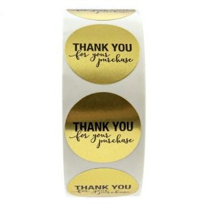 Gold Thank You Circle Decals | TY027 Ready In Stock | Thank You Labels for Favors