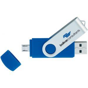 Economical Manufacture 2-Tone USB 2.0 Customized Flash Drives w/ Micro USB - 16GB Top Print Store
