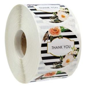 Floral Striped Thank You Round Decals | TY030 Ready In Stock | Thank You Labels for Favors