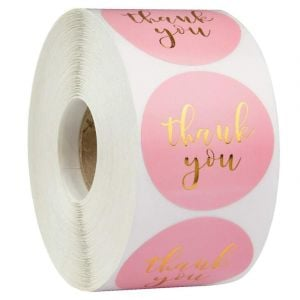 Pink and Gold Thank You Round Labels | TY031 | Thank You Circle Stickers