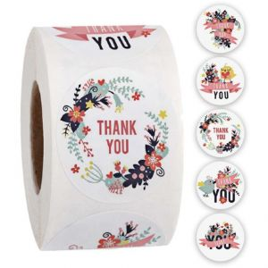 Custom Floral Circle Thank You Round Labels | TY034 | Wedding Favor Stickers