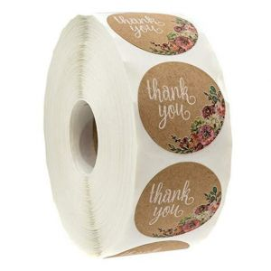 Kraft Floral Thank You Circle Labels | TY038 | Thank You Labels for Favors