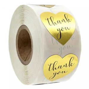 Gold Thank You Heart Stickers| TY007 | Thank You Decals