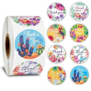 Floral And Animal Thank You Round Stickers | TY009 Ready In Stock | Thank You Gift Labels
