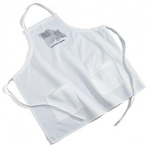 Cheap Manufacture Bound Poly / Cotton Twill BBQ Custom Apron w/ 2 Pockets - White Print Company