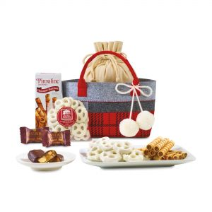 Best Chocolate Treats Plaid Custom Tote Gift Set At Low Rate