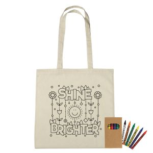 """Best Cotton Custom Coloring Tote Bag w/ Crayons - 15""""w x 15""""h At Special Offer"""