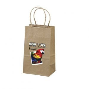 "Order in Bulk Full Color Brown Kraft Custom Shopping Bag - 5.25""w x 8.25""h x 3.25""d Best Printing Manufacturer"
