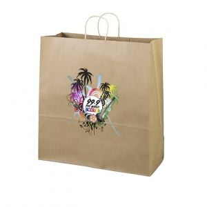 "Best Print Full Color Brown Kraft Custom Shopping Bag - 18""w x 18.75""h x 7""d At Lowest Rate"