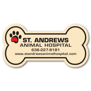 Budget Full Color Specialty Shaped Logo Magnet - Dog Bone - 20 mil Printing Factory