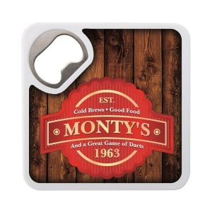 Purchase in Bulk Full Color Square Custom Bottle Opener Coaster Top Printing Factory