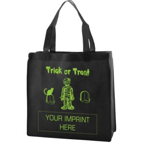 """Cheap Produce Glow-in-the-Dark Halloween Non-Woven Custom Tote Bag - 13""""w x 13""""h x 5""""d At Low Price"""