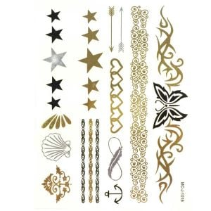 Gold Arm Tattoo Temporary | Personalised Temporary Tattoos