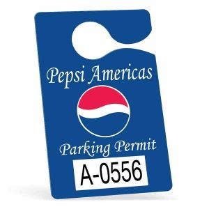 """Lowest Price Hanging Custom Parking Permit - 3"""" w x 4.75"""" h Made in China"""