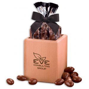 Budget Hardwood Pen & Pencil Cup w/ Promo Chocolate Almonds - 5 oz. Print Supplier