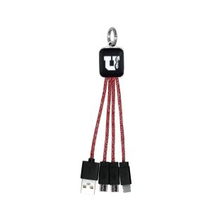 Order Heather Braided 3-in-1 Light Up Custom Charging Cable Keychain Top Printing Supplier