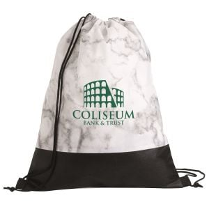 """Order Marble Custom Drawstring Backpack - 13""""w x 16.5""""h At Lowest Offer"""
