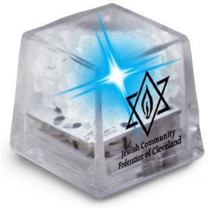 Economical Print MiniGlow Light-Up Promotional Ice Cubes - Clear w/ Blue LED Best Printing Company