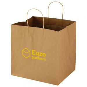 "Bargain Natural Kraft Paper Custom Takeout Bag - 12""w x 12""h x 10""d Online store"