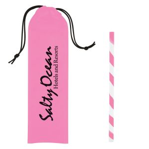 Best Print Silicone Spiral Straw w/ Custom Travel Pouch Print Factory