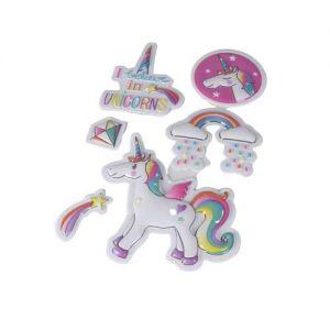 Puffy Unicorn Stickers | Cute 3D Stickers