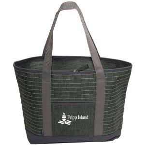 "Striped Heather Custom Tote Bag - 18.25""w x 13.75""h x 4.25""d"