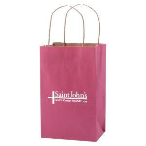 "Best Print Striped Tinted Kraft Custom Shopping Bag - 5.25""w x 8.5""h x 3.25""d Dependable Print Factory"