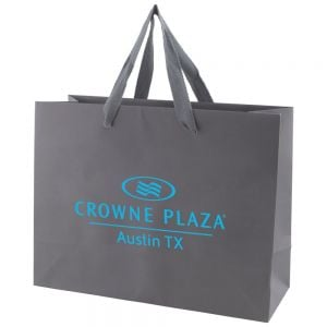 "Economical Print Tinted Kraft Custom Tote Bag w/ Ribbon Handles - 13""w x 10""h x 5""d Top Print Store"
