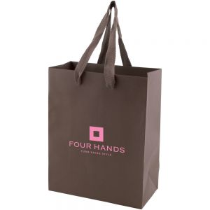 "Cheap Manufacture Tinted Kraft Custom Tote Bag w/ Ribbon Handles - 8""w x 10""h x 4""d Best Printing Manufacturer"