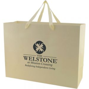 "Reasonable Priced Tinted Kraft Custom Tote Bag w/ Ribbon Handles - 16""w x 12""h x 6""d Top Printing Company"