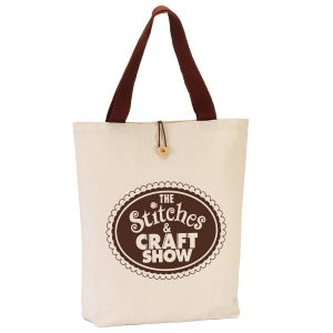 Top Print Two-Tone Button Up Canvas Promotional Tote Bag At Lowest Price