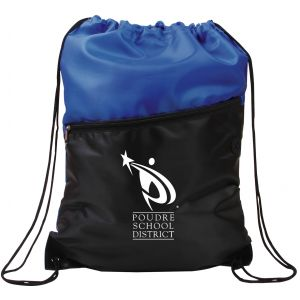 "Low Price Two-Tone Custom Drawstring Backpack w/ Zipper - 13""w x 16.75""h Top Print Company"
