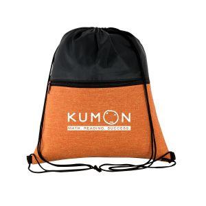 "Buy in Bulk Two-Tone Heather Custom Drawstring Bag - 13.75""w x 16.75""h Print Company"